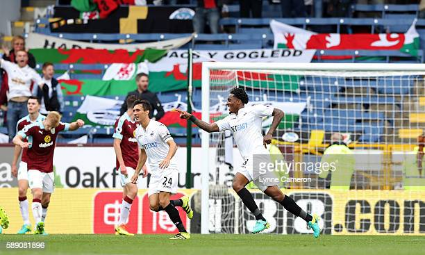Leroy Fer of Swansea City celebrates scoring the winning goal during the Premier League match between Burnley and Swansea City at Turf Moor on August...