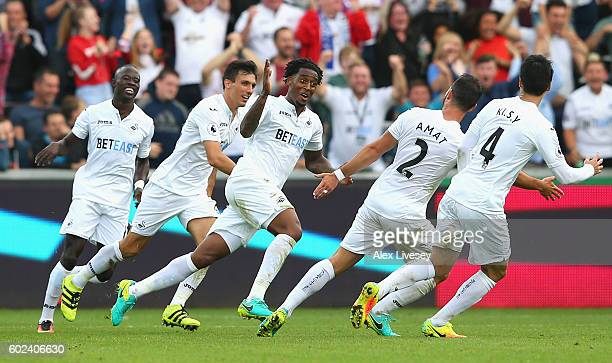 Leroy Fer of Swansea City celebrates with team mates as he scores their second goal during the Premier League match between Swansea City and Chelsea...