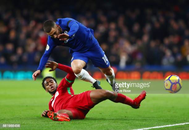 Leroy Fer of Swansea City fouls Eden Hazard of Chelsea during the Premier League match between Chelsea and Swansea City at Stamford Bridge on...