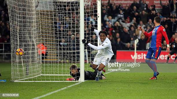 Leroy Fer of Swansea City scores his second goal against Wayne Hennessey of Crystal Palace making the score 31 to his team during the Premier League...
