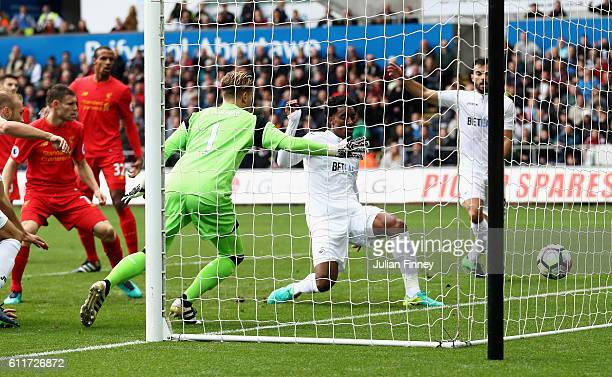 Leroy Fer of Swansea City scores his sides first goal during the Premier League match between Swansea City and Liverpool at Liberty Stadium on...