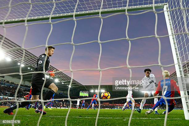 Leroy Fer of Swansea City scores his team's second goal during the Premier League match between Swansea City and Crystal Palace at Liberty Stadium on...