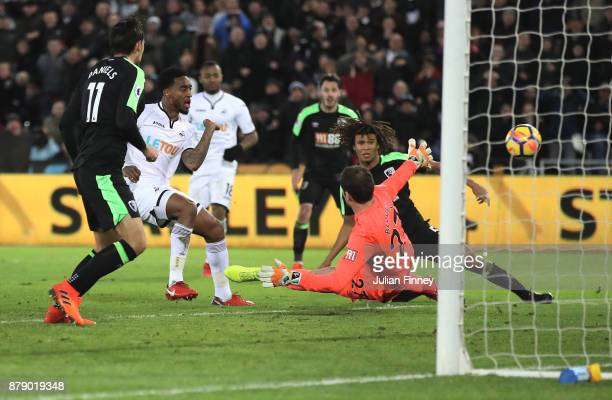 Leroy Fer of Swansea City shoots during the Premier League match between Swansea City and AFC Bournemouth at Liberty Stadium on November 25 2017 in...