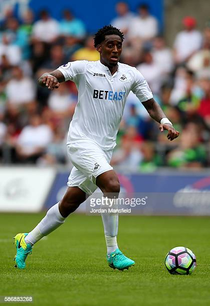 Leroy Fer of Swansea in action during the preseason friendly between Swansea City and Stade Rennais at Liberty Stadium on August 6 2016 in Swansea...