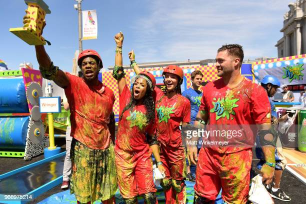 Leroy Garrett Kam Williams Jenna Compono and Chris 'CT' Tamburello attend Double Dare presented by Mtn Dew Kickstart at Comedy Central presents...