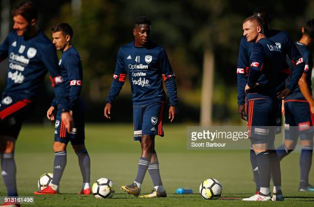 Leroy George and Besart Berisha of the Victory look on during a Melbourne Victory ALeague training session at Gosch's Paddock on February 2 2018 in...