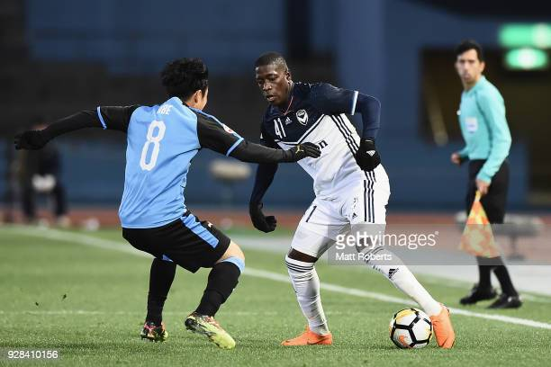 Leroy George of Melbourne Victory controls the ball during the AFC Champions League Group F match between Kawasaki Frontale and Melbourne Victory at...