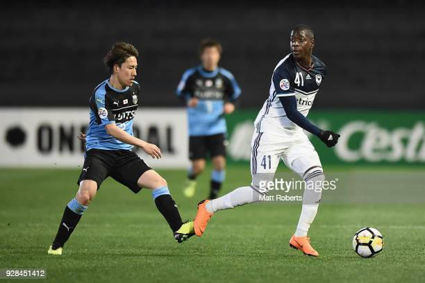 Leroy George of Melbourne Victory looks to pass the ball during the AFC Champions League Group F match between Kawasaki Frontale and Melbourne...