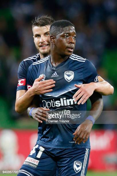Leroy George of the Victory celebrates a goal during the round 25 ALeague match between the Melbourne Victory and the Western Sydney Wanderers at...