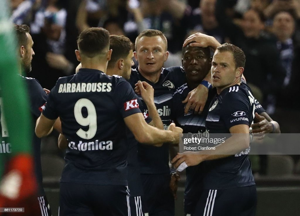 Leroy George of the Victory celebrates after scoring a goal during the round two A-League match between Melbourne Victory and Melbourne City FC at Etihad Stadium on October 14, 2017 in Melbourne, Australia.