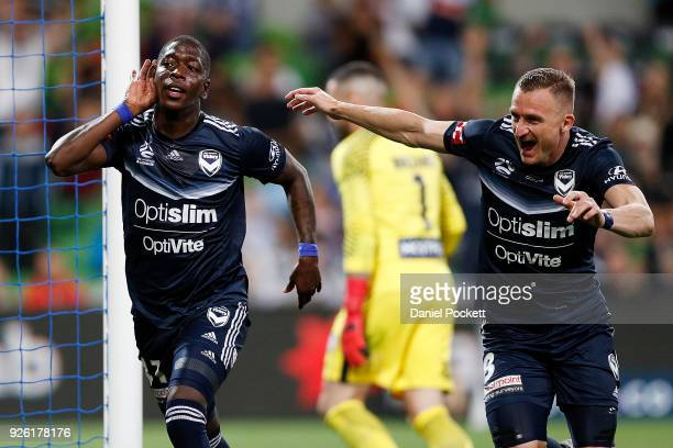 Leroy George of the Victory celebrates after scoring a goal during the round 22 ALeague match between Melbourne City FC and Melbourne Victory at AAMI...