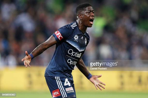 Leroy George of the Victory celevrates a goal during the ALeague Elimination Final match between Melbourne Victory and Adelaide United at AAMI Park...