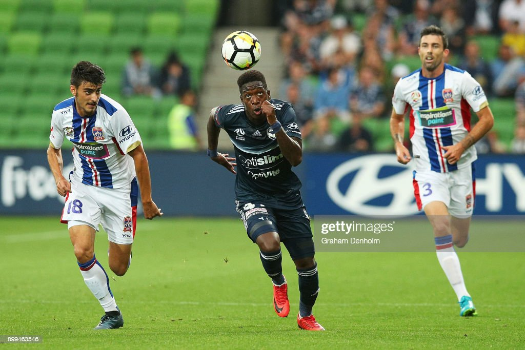 Leroy George of the Victory (C) chases the ball during the round 13 A-League match between the Melbourne Victory and the Newcastle Jets at AAMI Park on December 29, 2017 in Melbourne, Australia.