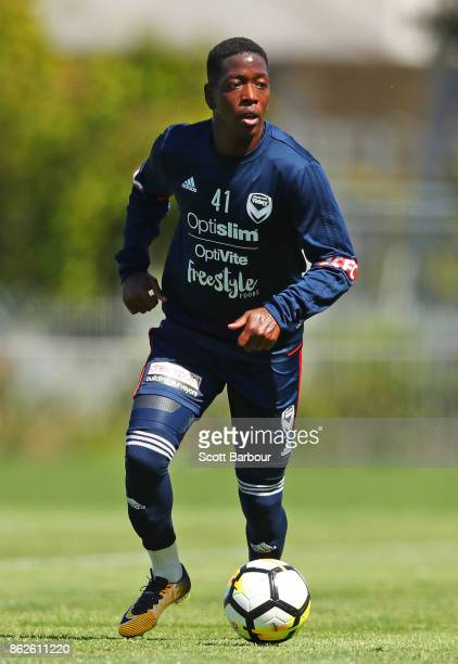 Leroy George of the Victory controls the ball during a Melbourne Victory ALeague training session at Gosch's Paddock on October 18 2017 in Melbourne...