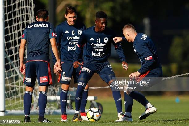 Leroy George of the Victory controls the ball during a Melbourne Victory ALeague training session at Gosch's Paddock on February 2 2018 in Melbourne...