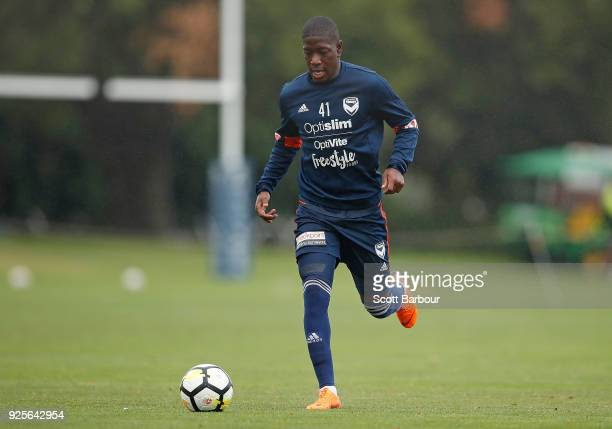 Leroy George of the Victory controls the ball during a Melbourne Victory ALeague training session at Gosch's Paddock on March 1 2018 in Melbourne...