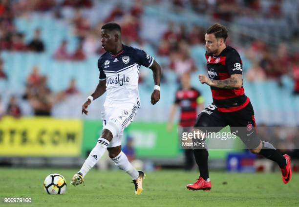 Leroy George of the Victory controls the ball during the round 17 ALeague match between the Western Sydney Wanderers and the Melbourne Victory at ANZ...