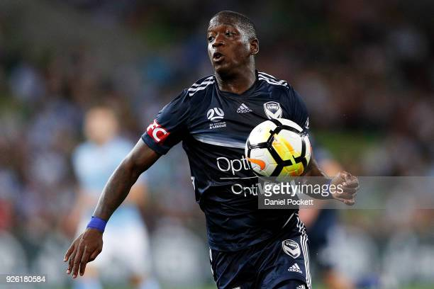 Leroy George of the Victory controls the ball during the round 22 ALeague match between Melbourne City FC and Melbourne Victory at AAMI Park on March...