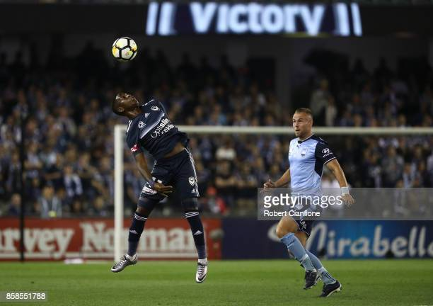 Leroy George of the Victory controls the ball during the round one ALeague match between the Melbourne Victory and Sydney FC at Etihad Stadium on...