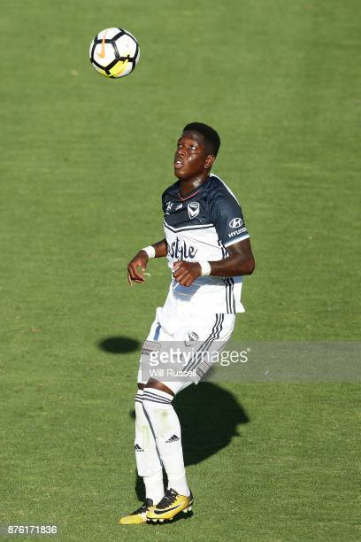Leroy George of the Victory controls the ball during the round seven ALeague match between Perth Glory and Melbourne Victory at nib Stadium on...