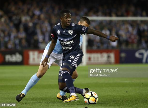 Leroy George of the Victory controls the ball during the round two ALeague match between Melbourne Victory and Melbourne City FC at Etihad Stadium on...