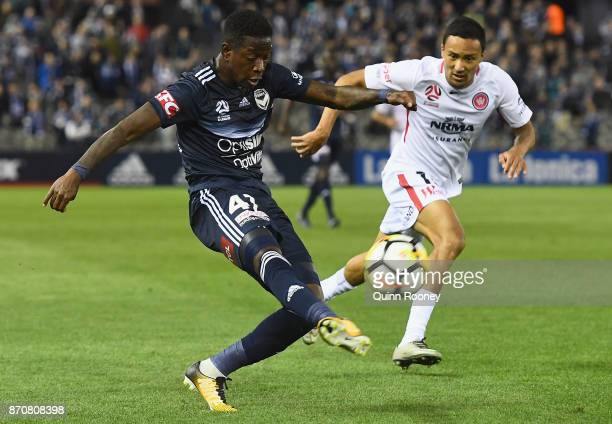 Leroy George of the Victory kicks during the round five ALeague match between the Melbourne Victory and the Western Sydney Wanderers at Etihad...