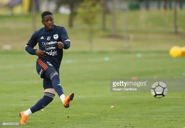 Leroy George of the Victory kicks the ball during a Melbourne Victory ALeague training session at Gosch's Paddock on May 3 2018 in Melbourne Australia