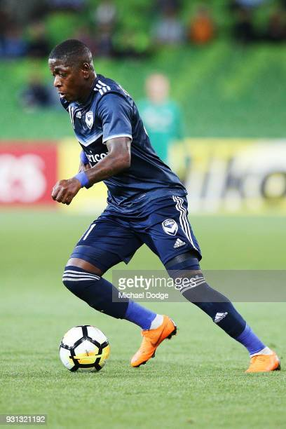 Leroy George of the Victory kicks the ball during the AFC Asian Champions League match between the Melbourne Victory and Kawasaki Frontale at AAMI...