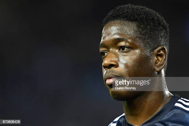 Leroy George of the Victory looks on during the round five ALeague match between the Melbourne Victory and the Western Sydney Wanderers at Etihad...