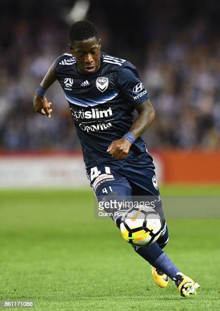 Leroy George of the Victory passes the ball during the round two ALeague match between Melbourne Victory and Melbourne City FC at Etihad Stadium on...