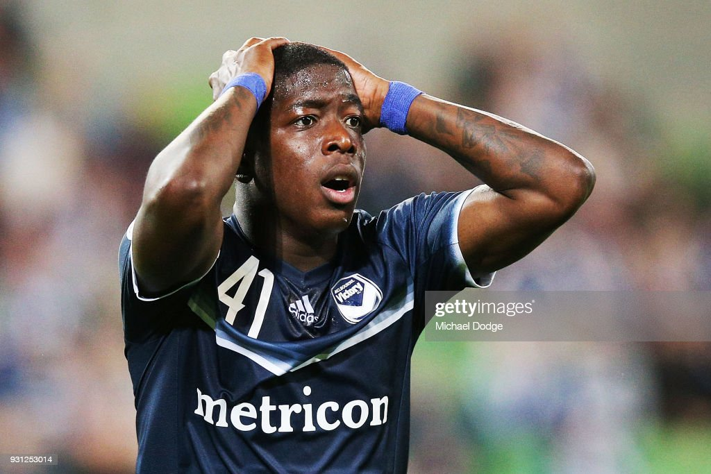 Leroy George of the Victory reacts after missing a goal during the AFC Asian Champions League match between the Melbourne Victory and Kawasaki Frontale at AAMI Park on March 13, 2018 in Melbourne, Australia.