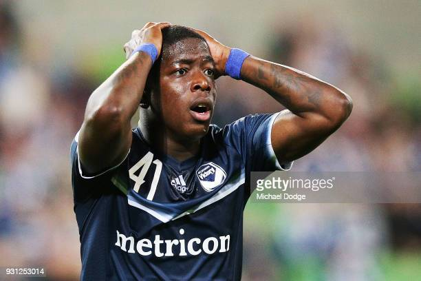 Leroy George of the Victory reacts after missing a goal during the AFC Asian Champions League match between the Melbourne Victory and Kawasaki...