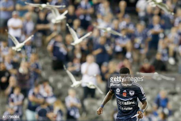 Leroy George of the Victory runs with the ball during the round six ALeague match between the Melbourne Victory and Brisbane Roar at Etihad Stadium...
