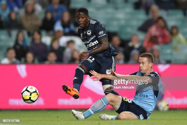 Leroy George of the Victory shoots during the ALeague Semi Final match between Sydney FC and Melbourne Victory at Allianz Stadium on April 28 2018 in...