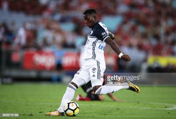 Leroy George of the Victory takes a shot on goal during the round 17 ALeague match between the Western Sydney Wanderers and the Melbourne Victory at...