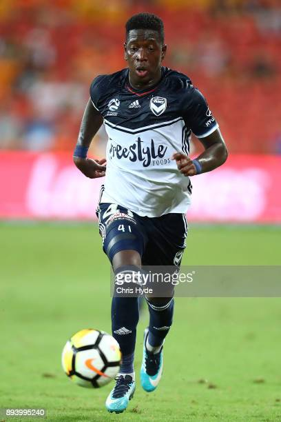 Leroy George of Vivtory controls the ball during the round 11 ALeague match between the Brisbane Roar and the Melbourne Victory at Suncorp Stadium on...