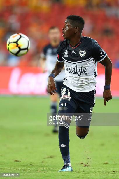Leroy George of Vivtory runs for the ball during the round 11 ALeague match between the Brisbane Roar and the Melbourne Victory at Suncorp Stadium on...