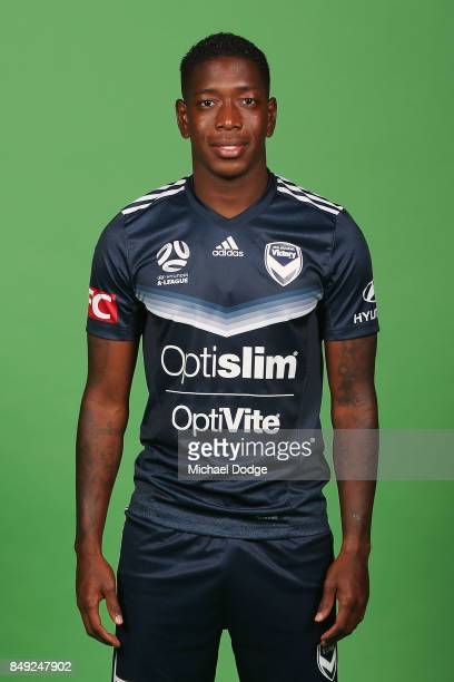 Leroy George poses during the Melbourne Victory 2017/18 ALeague headshots session at AAMI Park on September 8 2017 in Melbourne Australia