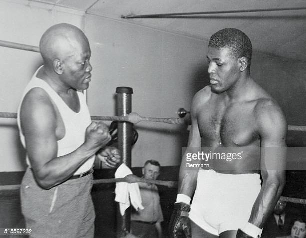 Leroy Haynes who promised to hand Primo Carnera a thorough drubbing when they meet in a 10rounder at Ebbets Field Brooklyn New York May 27 is all...