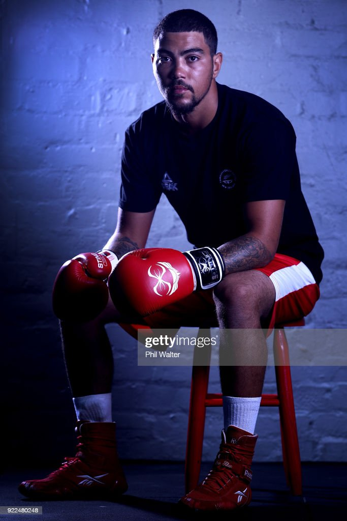 Leroy Hindley poses for a portrait during the New Zealand Commonwealth Games Boxing Team Announcement at Wreck Room on February 22, 2018 in Auckland, New Zealand.