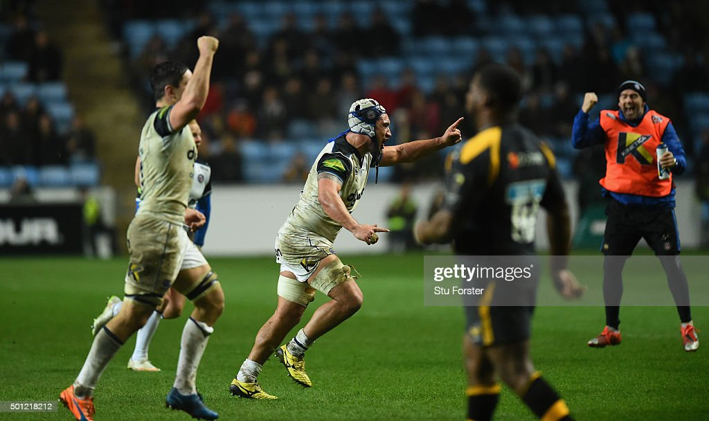 Leroy Houston of Bath celebrates the winning kick to win the game during the European Rugby Champions Cup match between Wasps and Bath at Ricoh Arena on December 13, 2015 in Coventry, England.