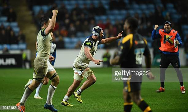 Leroy Houston of Bath celebrates the winning kick to win the game during the European Rugby Champions Cup match between Wasps and Bath at Ricoh Arena...