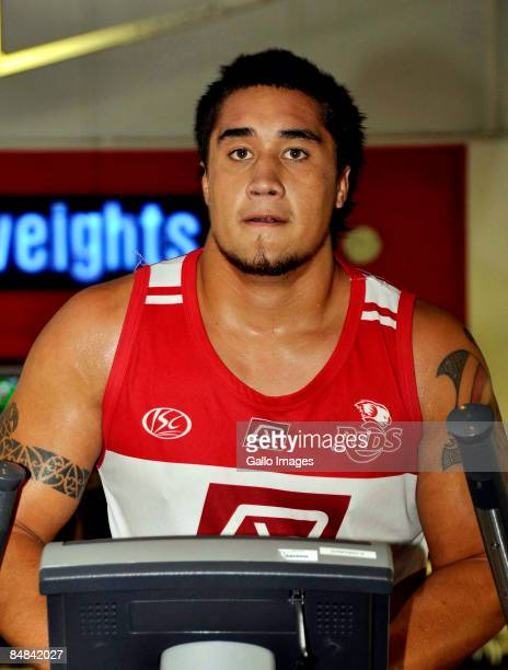 Leroy Houston trains during a Queensland Reds weights session held at Virgin Active February 17 2009 in Cape Town South Africa