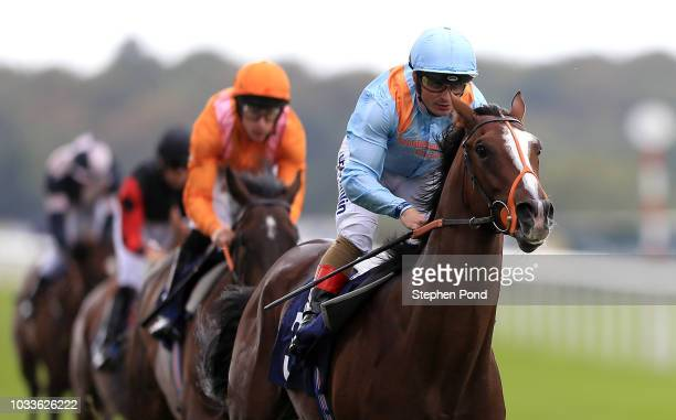 Leroy Leroy ridden by jockey Andrea Atzeni wins the Napoleons Casinos and Restaurants Nursery Handicap Stakes at Doncaster Racecourse on September 15...