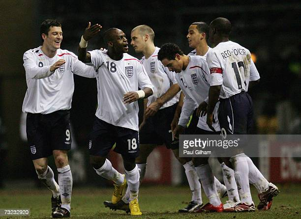 Leroy Lita celebrates with his teammates after scoring the second goal for England during the International friendly match between England U21 and...