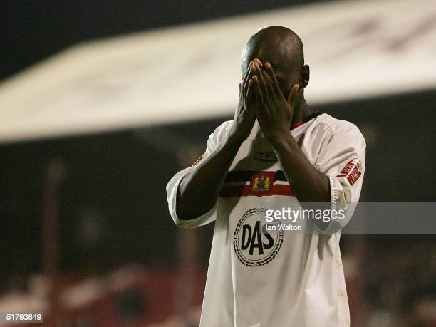Leroy Lita misses a penalty in the penalty shoot out during the FA Cup first round replay match between Brentford and Bristol City at Griffin Park on...