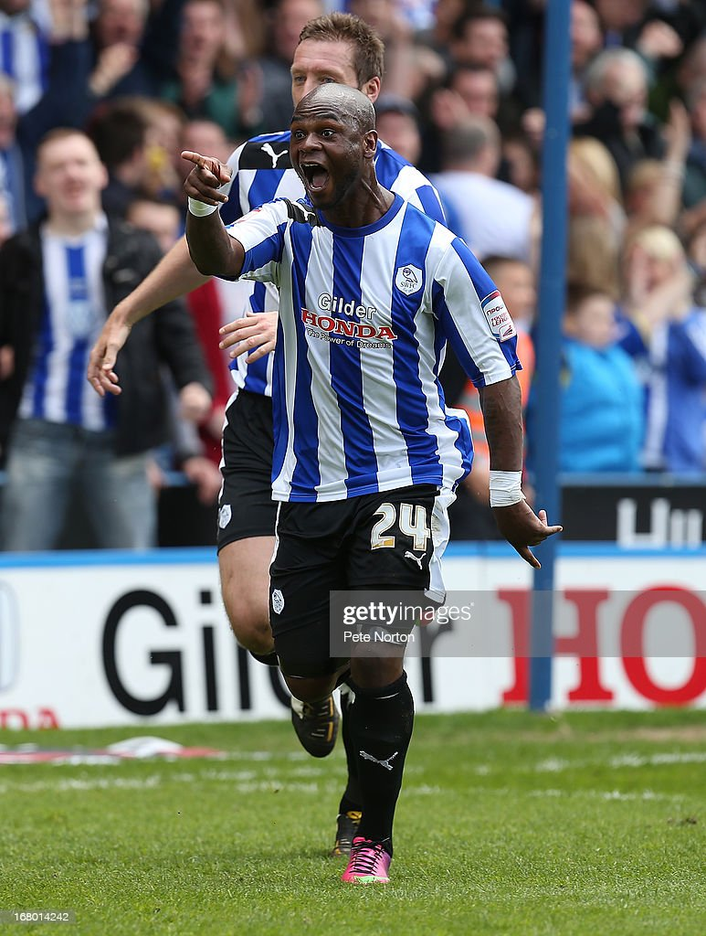 Leroy Lita of Sheffield Wednesday celebrates after scoring his teams 2second goal during the npower Championship match between Sheffield Wednesday and Middlesbrough at Hillsborough Stadium on May 4, 2013 in Sheffield, England.