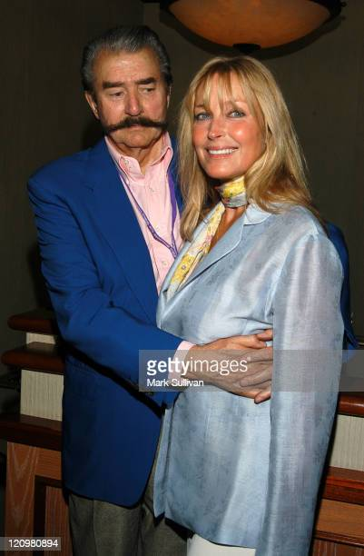 LeRoy Neiman and Bo Derek during Celebrities at the 2003 Breeders Cup at Oak Tree at Santa Anita in Arcadia California United States