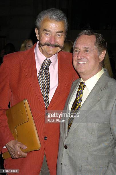 Leroy Neiman and Neil Sedaka during Dennis Basso Fashion Show Fall/Winter 2004 at Cipriani in New York City New York United States