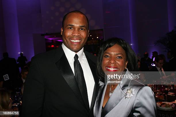 Leroy Nix a lobbyist for Alabama Power Co left and Congresswoman Terri Sewell a Democrat from Alabama pose for a portrait at the Alvin Ailey American...